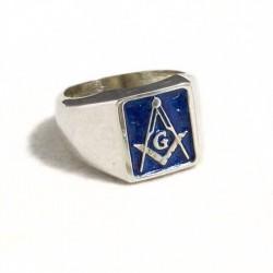 Anello massonico rettangolare blu