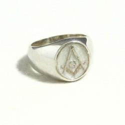 Anello massonico ovale bianco