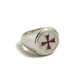 Anello uomo Croce Templare rossa