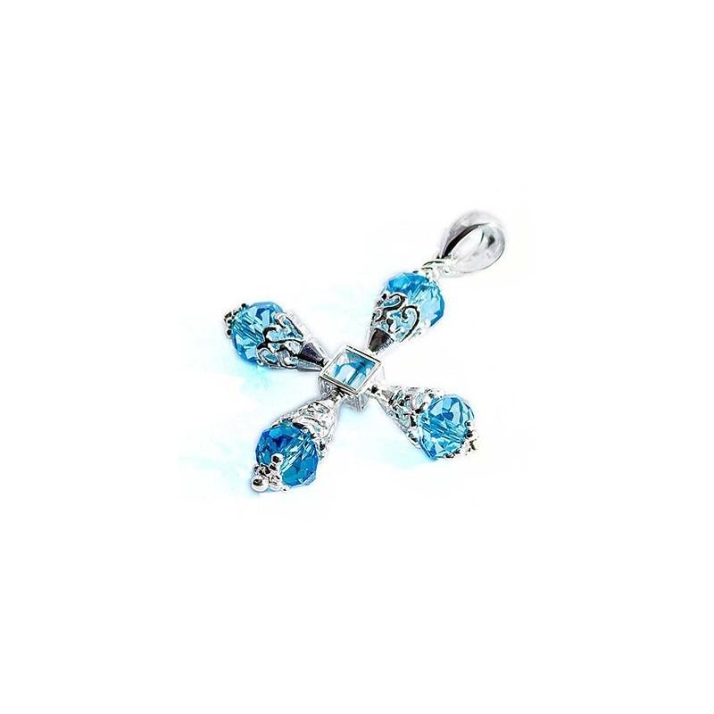 Croce a coni traforati con topazio azzurro