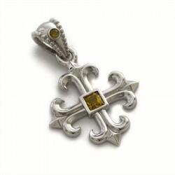 Croce gigliata grande con pietra gialla