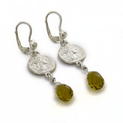 Orecchini moneta e topazio giallo