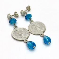 Orecchini moneta e topazio azzurro