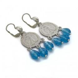 Orecchini moneta e gocce topazio azzurro