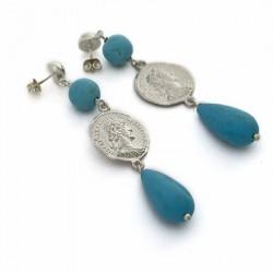 Orecchini moneta romana grande e gocce turchese maxi