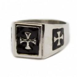 Anello rettangolare croce templare