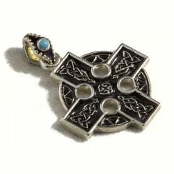 Croce celtica media smalto e turchese