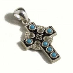 Croce celtica piccola con turchese