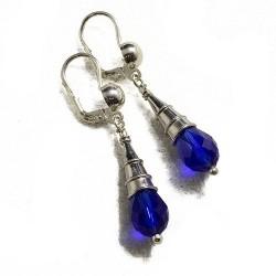 orecchini a goccia con cristalli blu