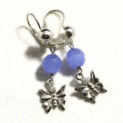 Orecchini con agata azzurra e farfalla