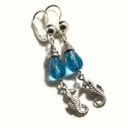 Orecchini topazio azzurro cavallucci marini