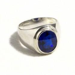 Anello uomo pietra ovale blu